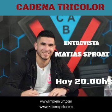 HOY 20hs ! Programa especial📻  Entrevista Exclusiva  Matias Sproat